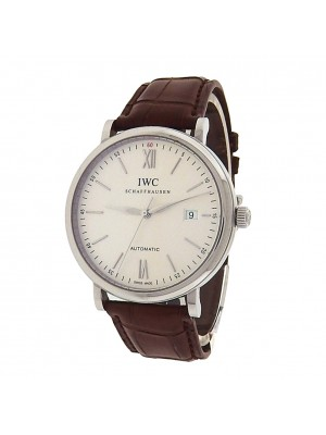 IWC Portofino IW356501 Stainless Steel Brown Leather Automatic Silver Men's Watch