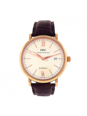 IWC Portofino IW356504 18k Rose Gold Brown Leather Automatic Silver Men's Watch