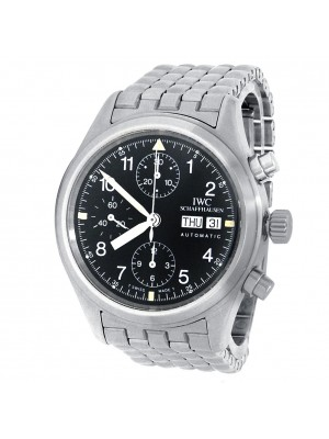 IWC Pilot Stainless Steel Chronograph Automatic Black Men's Watch IW370607