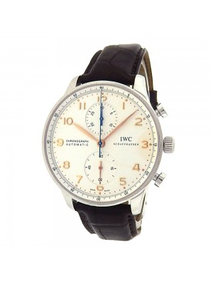 IWC Portuguese Chronograph IW371445 Stainless Steel Leather Automatic Silver Watch