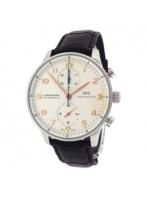 IWC Portuguese Chronograph IW371445 Steel Leather Automatic Silver Men's Watch