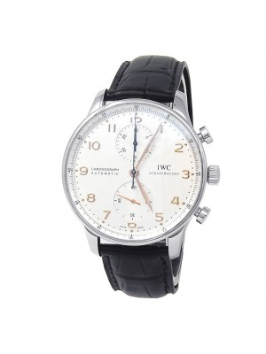 IWC Portuguese Stainless Steel Leather Auto Chrono Silver Men's Watch IW371445