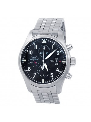 IWC Pilot's Chronograph Stainless Steel Automatic Black Men's Watch IW377704