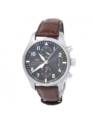 IWC Spitfire Chronograph Stainless Steel Leather Auto Grey Men's Watch IW387802