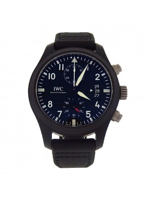 IWC Pilot Top Gun IW388001 Black Ceramic Titanium Fabric Leather Automatic Watch