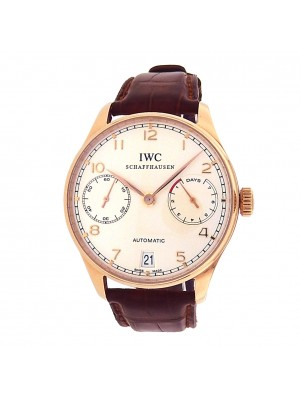 IWC Portuguese IW500113 18k Rose Gold Brown Leather Automatic Silver Men's Watch