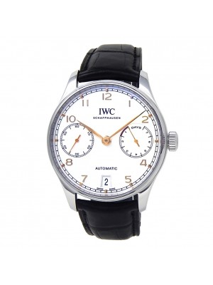 IWC Portugieser Stainless Steel Leather Chronograph Silver Men's Watch IW500704