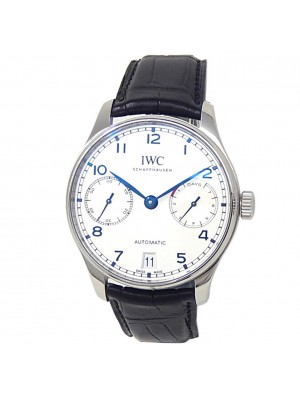 IWC Portugieser Stainless Steel Black Leather Auto Silver Men's Watch IW500705