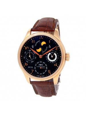 IWC Portuguese Perpetual Calendar 18k Rose Gold Automatic Men's Watch IW502103