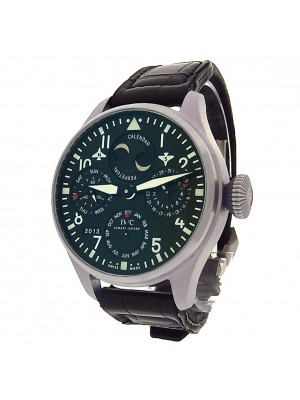 IWC Big Pilot Perpetual Calendar IW502620 Stainless Steel Chronograph Leather Automatic Black Men's Watch