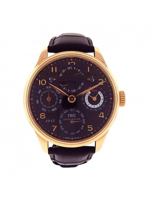 Men Solid 18k Rose Gold IWC Portuguese Perpetual Calendar Automatic Dress Watch