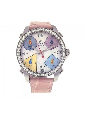 Jacob & Co Five Time Zone MOP Dial Diamond Bezel Quartz Unisex Watch JCM24