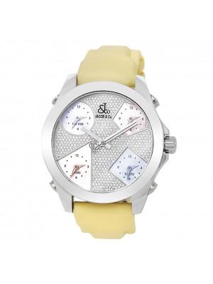 Jacob & Co Five Time Zone Stainless Steel Rubber Diamond Pave Ladies Watch JCM44