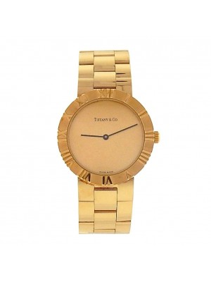 Tiffany & Co Atlas 18K Yellow Gold Shapmagne Dial Quartz Ladies Watch 23152