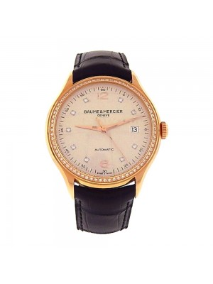 Baume & Mercier Clifton 18k Rose Gold Diamond Bezel Automatic Watch M0A10194