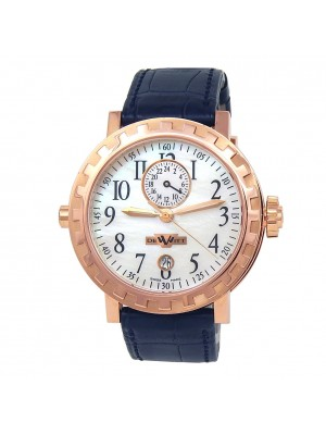DeWitt Academia 18k Rose Gold Leather Auto Mother of Pearl Men's Watch NE 024.53