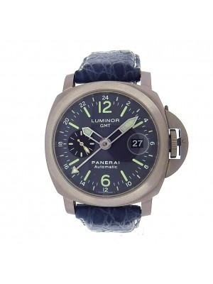 Panerai Luminor GMT PAM00089 Titanium Blue Leather Auto Anthracite Men's Watch