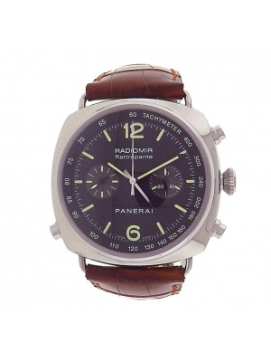 Panerai Radiomir Chrono PAM00214 Steel Brown Leather Automatic Black Men's Watch