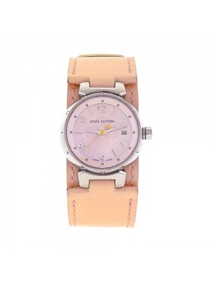 Louis Vuitton Tambour Stainless Steel MOP Dial Quartz Ladies Watch Q1216