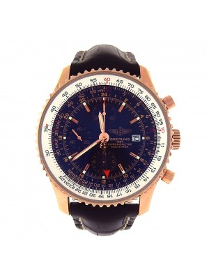 Breitling Navitimer World 18k Rose Gold Black Leather Automatic Watch