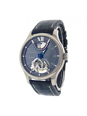 Chopard LUC Tourbillon SL 168502-3001 Titanium Blue Leather Skeleton Men's Watch