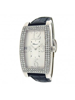 Chopard-Classic-Rectangle-18k-White-Gold-Diamonds-Bezel-Quartz-Silver-Watch