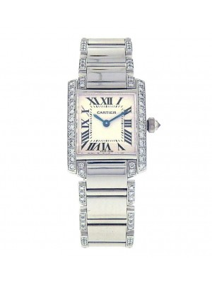 Cartier Tank Francaise WE1002SF 18K White Gold Diamonds Silver Ladies Watch