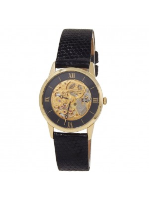 Universal Geneve 18k Yellow Gold Black Leather Manual Skeleton Ladies Watch