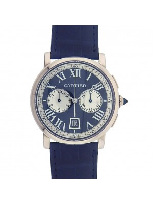 Men 18k White Gold Cartier Rotonde Automatic Chronograph Skeleton Dress Watch.