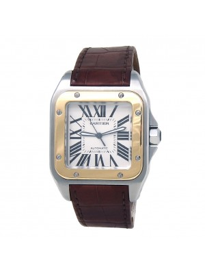 Cartier Santos 100 Stainless Steel & 18k Yellow Gold Bezel Automatic W20072X7