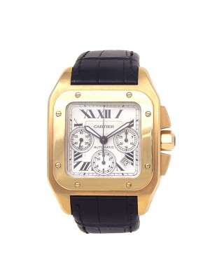 Cartier Santos 100 18k Yellow Gold Automatic Chronograph Men's Watch W20096Y1