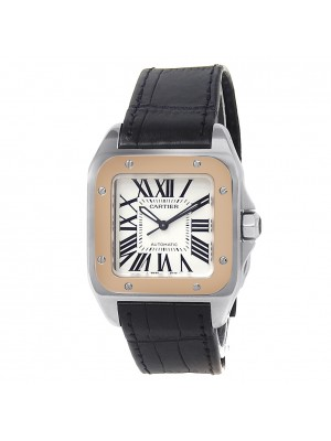 Cartier Santos 100 Stainless Steel Gold Automatic Silver Midsize Watch W20107X7