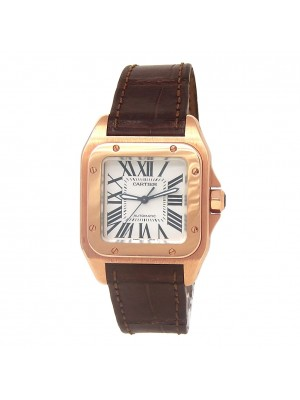 Cartier Santos 100 18k Rose Gold Men's Watch Automatic W20108Y1