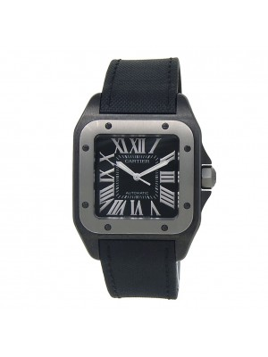 Cartier Santos 100 PVD Stainless Steel Automatic Black Men's Watch W2020010