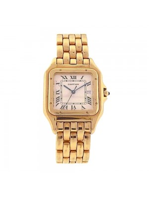 Cartier Panther 18k Yellow Gold Date Window Roman Numerals Quartz Watch W25014B9
