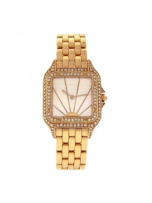 Ladies Cartier Panthere 18k Solid Gold Full Diamond Mother of Pearl Dress Watch
