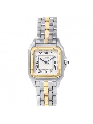 Cartier Panthere 18k Yellow Gold Steel Quartz White Ladies Watch W25028B5