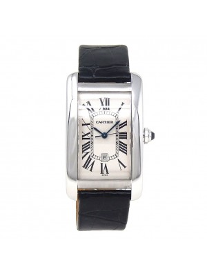 Cartier Tank Americaine 18k White Gold Date Display Automatic Men Watch W2603256