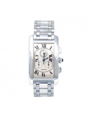 Cartier Tank Americaine 18k White Gold Quartz Chronograph Men's Watch W260334