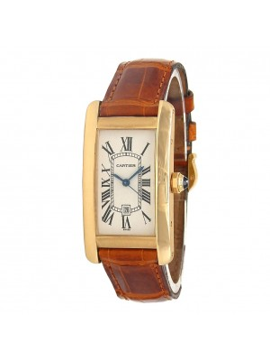 Cartier Tank Americaine 18k Rose Gold Automatic Men's Watch W2620030