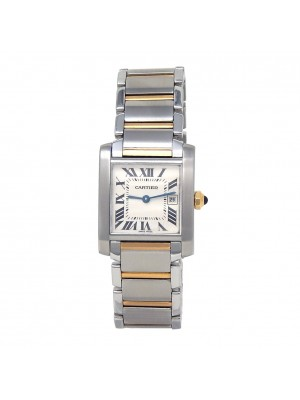 Cartier Tank Francaise 18k Yellow Gold Stainless Steel Quartz Watch W2TA0003
