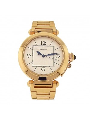 Cartier Pasha 18k Yellow Gold Siver Dial Automatic Men's Watch W30186H9