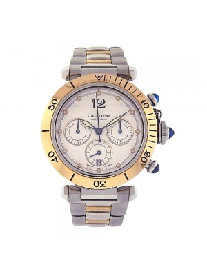 Cartier Pasha Stainless Steel Gold Bezel Automatic Chronograph Watch W31036T6