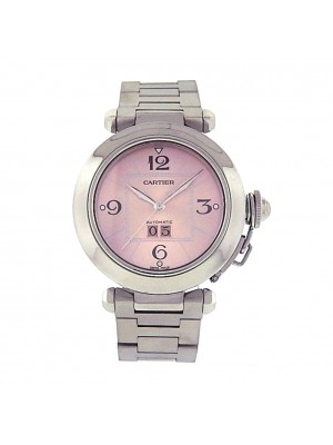 Cartier Pasha 2475 Stainless Steel Automatic Big Date Pink Ladies Watch