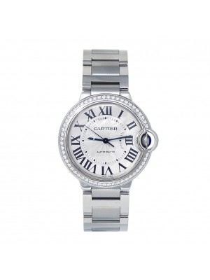 Cartier Ballon Bleu Stainless Steel Diamond Bezel Automatic Lady Watch W4BB0017
