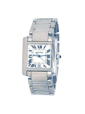 Cartier Tank Francaise 18k White Gold Mens Watch W50011S3