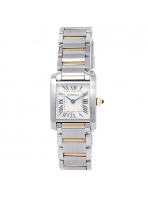 Cartier Tank Francaise Stainless Steel Gold Quartz White Ladies Watch W51007Q4