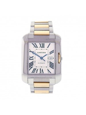 Men 18k Steel Cartier Tank Anglaise Self Winding Automatic Dress Watch W5310047