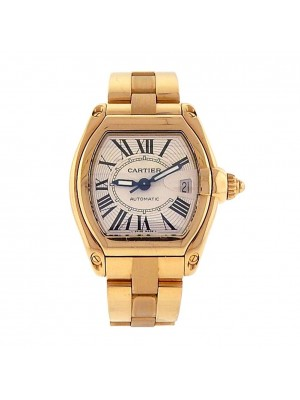 Cartier Roadster 18K Yellow Gold White Dial Automatic Ladies Watch W62005V1