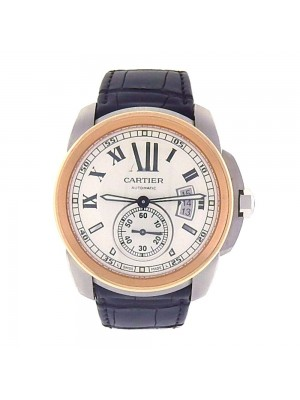 Cartier Calibre de Cartier Stainless Steel Gold Bezel Automatic Watch W7100039